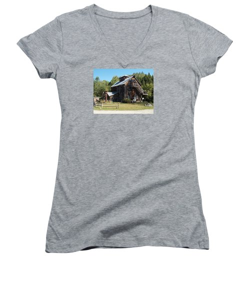 Grist Mill Women's V-Neck T-Shirt (Junior Cut) by Catherine Gagne