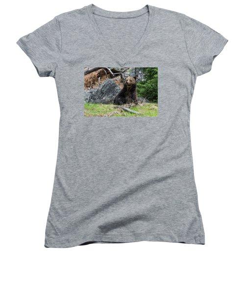 Grizzly Manor Women's V-Neck T-Shirt (Junior Cut) by Scott Warner