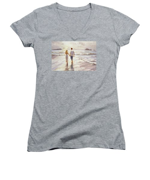 Women's V-Neck featuring the painting Hand In Hand by Steve Henderson