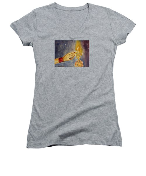 Women's V-Neck T-Shirt (Junior Cut) featuring the painting Happy Diwali by Geeta Biswas