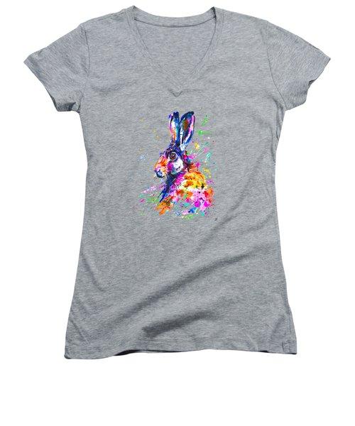 Hare In Grass Women's V-Neck