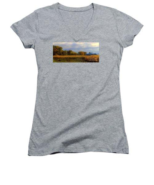 Harvest Women's V-Neck T-Shirt (Junior Cut) by Elfriede Fulda
