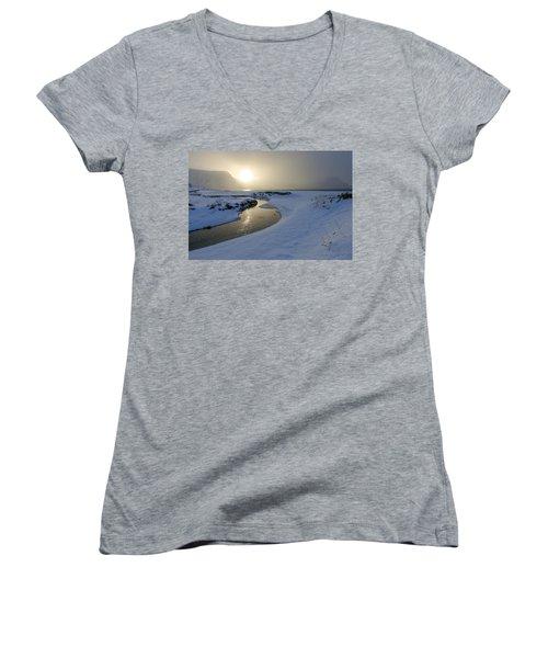 Haukland Beach, Lofoten Women's V-Neck T-Shirt (Junior Cut) by Dubi Roman