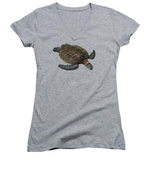 Hawaiian Sea Turtle Women's V-Neck T-Shirt (Junior Cut) by Pamela Walton