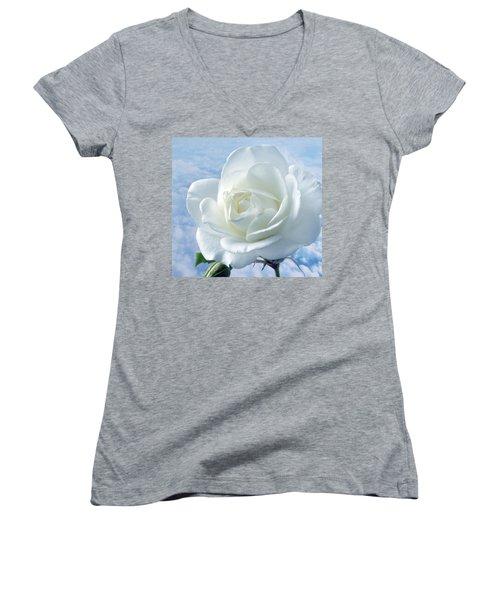 Heavenly White Rose. Women's V-Neck T-Shirt (Junior Cut) by Terence Davis