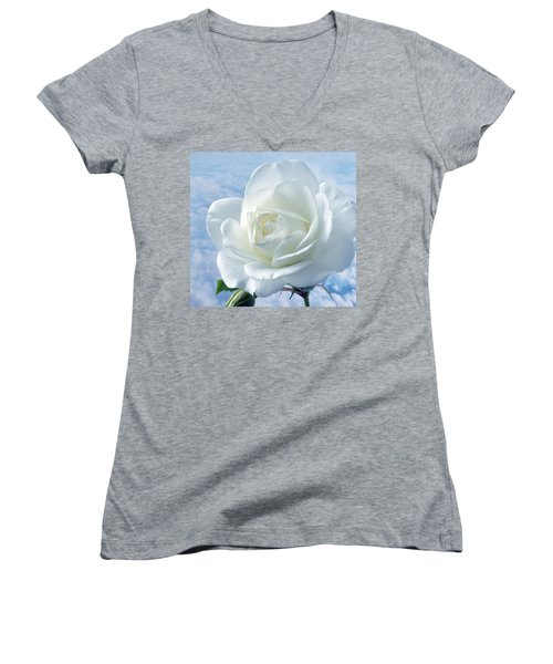 Heavenly White Rose. Women's V-Neck (Athletic Fit)