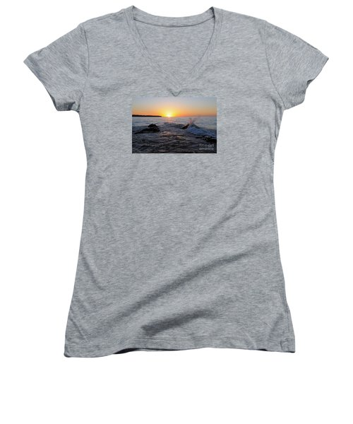 Women's V-Neck T-Shirt (Junior Cut) featuring the photograph Here Comes The Sun by Sandra Updyke