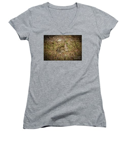 Here I Am Women's V-Neck T-Shirt (Junior Cut) by Robert Bales