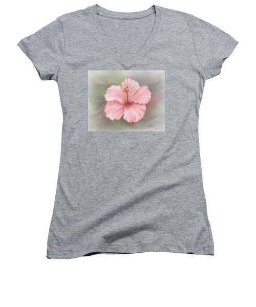 Women's V-Neck T-Shirt (Junior Cut) featuring the painting Hibiscus  by Bonnie Willis