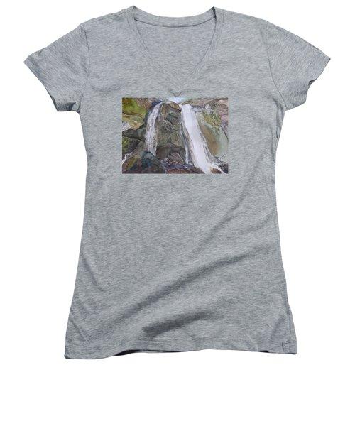Women's V-Neck T-Shirt featuring the painting High Shoals Falls by Joel Deutsch
