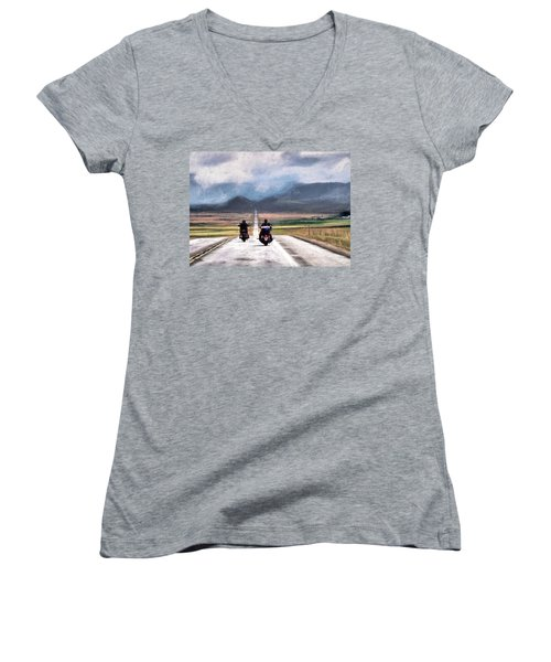 Women's V-Neck T-Shirt (Junior Cut) featuring the photograph Highway In The Wind by Jim Hill
