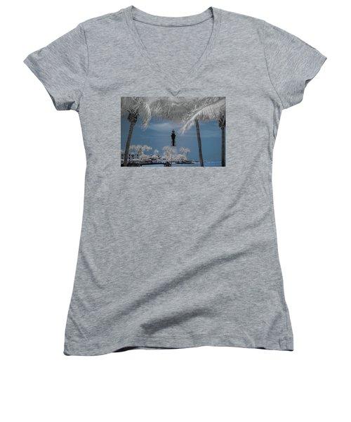 Women's V-Neck T-Shirt (Junior Cut) featuring the photograph Hillsboro Inlet Lighthouse by Louis Ferreira