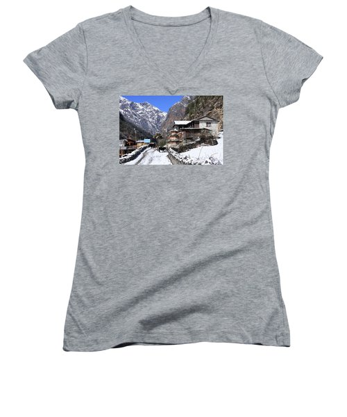 Himalayan Mountain Village Women's V-Neck T-Shirt (Junior Cut) by Aidan Moran