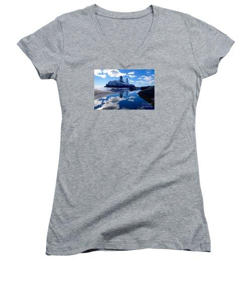 Hollow Rock Reflections Women's V-Neck T-Shirt (Junior Cut) by Sandra Updyke