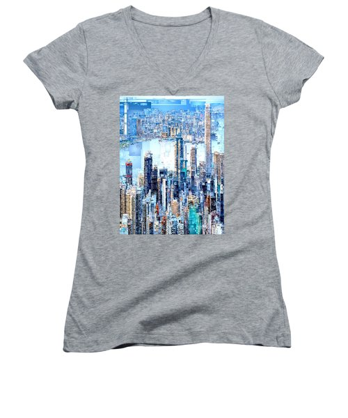 Hong Kong Skyline Women's V-Neck