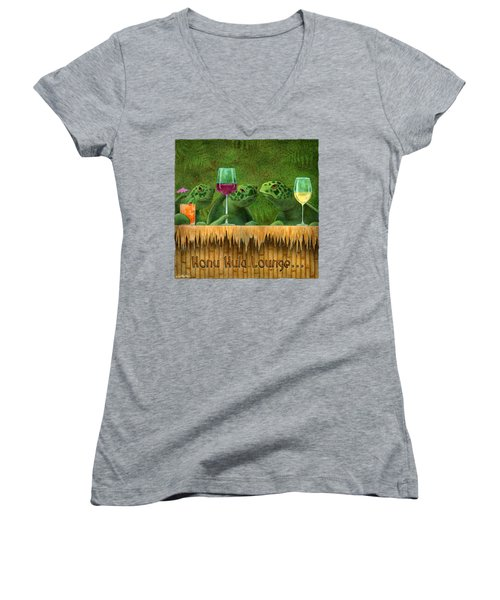 Honu Hula Lounge... Women's V-Neck T-Shirt
