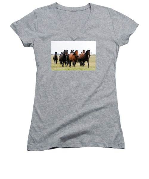 Horse Herd On The Hungarian Puszta Women's V-Neck