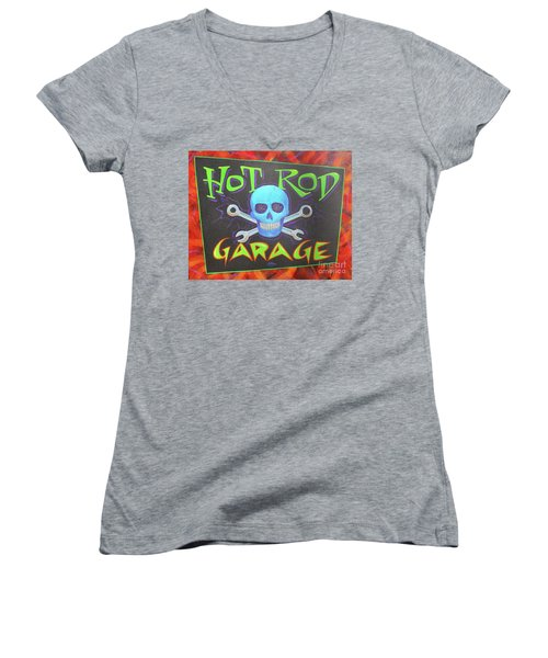 Hot Rod Garage Women's V-Neck (Athletic Fit)
