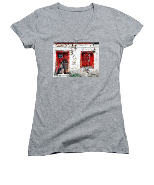 Women's V-Neck T-Shirt (Junior Cut) featuring the painting House For Sale by Maria Barry