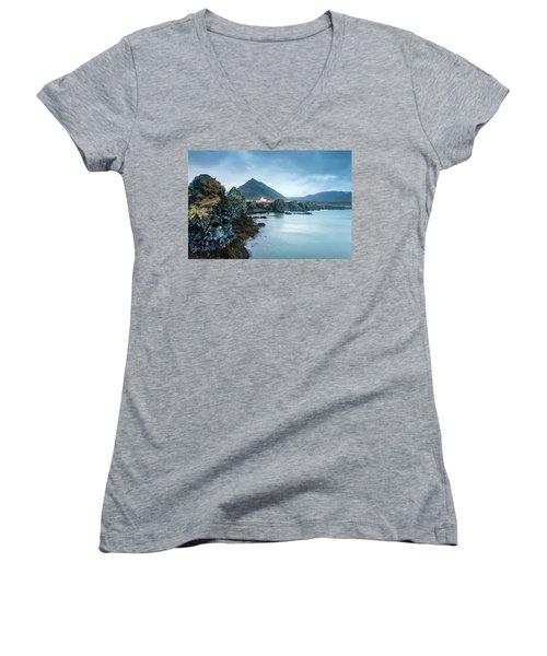 House On Ocean Cliff In Iceland Women's V-Neck T-Shirt (Junior Cut) by Joe Belanger