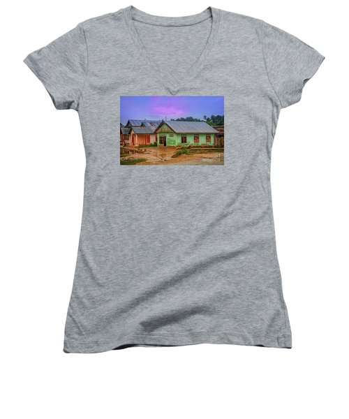Women's V-Neck T-Shirt (Junior Cut) featuring the photograph Houses by Charuhas Images