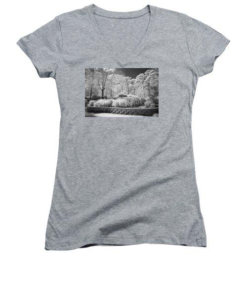 White Forrest Women's V-Neck T-Shirt (Junior Cut) by Denis Lemay