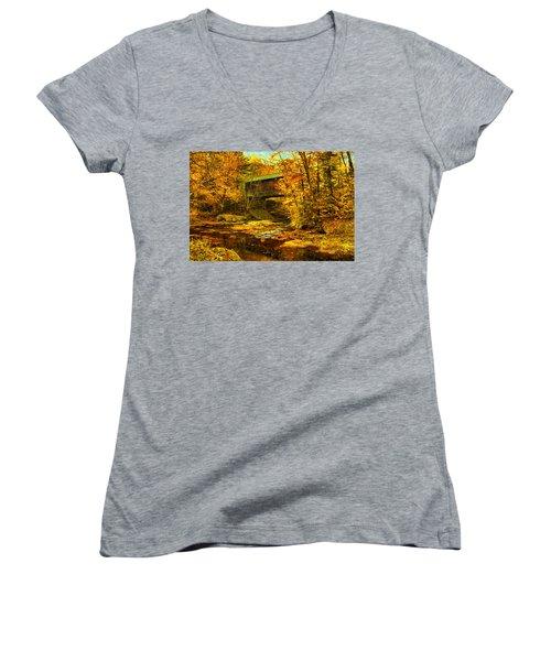 Hutchins Bridge Women's V-Neck T-Shirt (Junior Cut) by John Selmer Sr