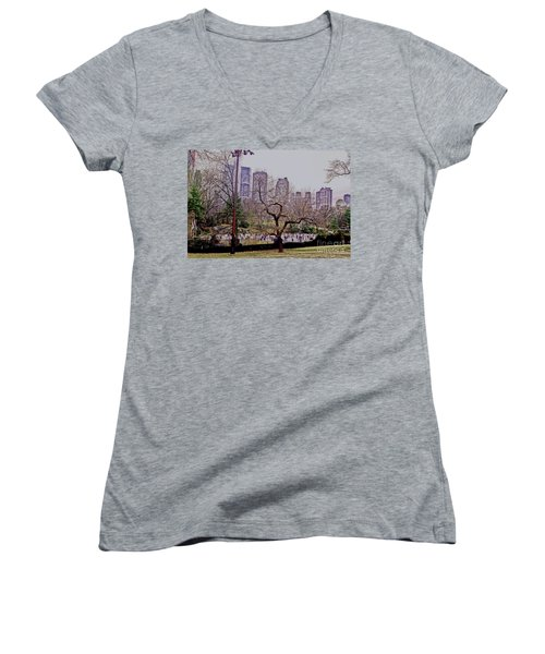 Ice Skaters On Wollman Rink Women's V-Neck T-Shirt (Junior Cut) by Sandy Moulder