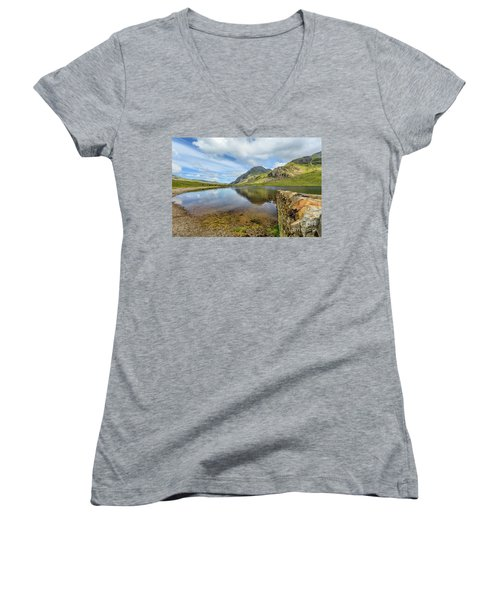 Women's V-Neck T-Shirt (Junior Cut) featuring the photograph Idwal Lake Snowdonia by Adrian Evans