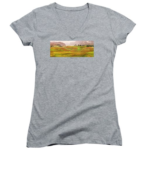 Women's V-Neck T-Shirt (Junior Cut) featuring the photograph In The Early Morning Rain by John Poon