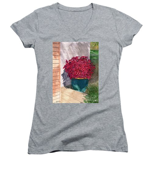 Women's V-Neck T-Shirt (Junior Cut) featuring the painting In The Morning by Melly Terpening