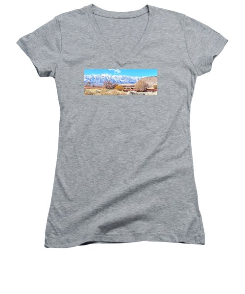 In The Valley Women's V-Neck T-Shirt (Junior Cut) by Marilyn Diaz