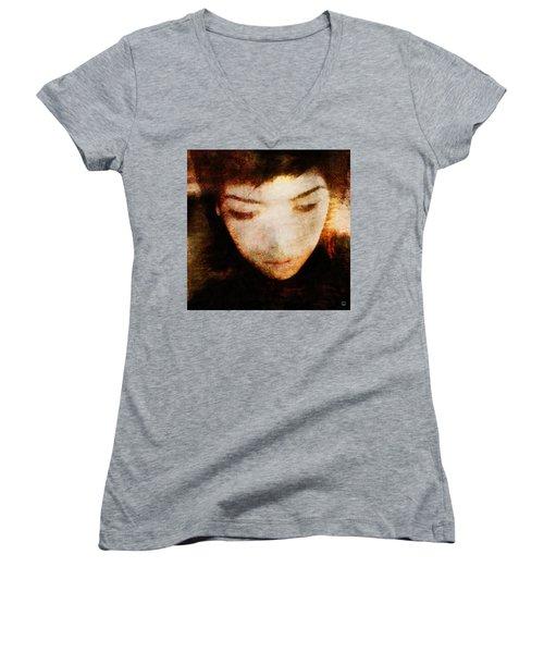 Women's V-Neck T-Shirt (Junior Cut) featuring the digital art In Thoughts by Gun Legler
