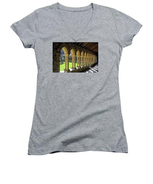 Iona Abbey Scotland Women's V-Neck T-Shirt (Junior Cut) by Jacqi Elmslie