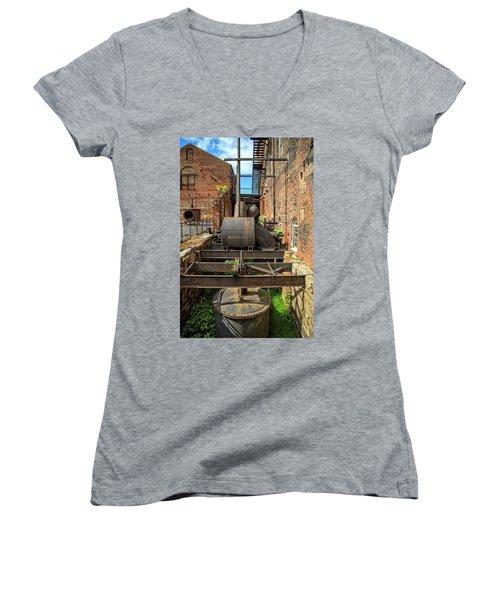 Women's V-Neck T-Shirt featuring the photograph Ironworks by Alan Raasch