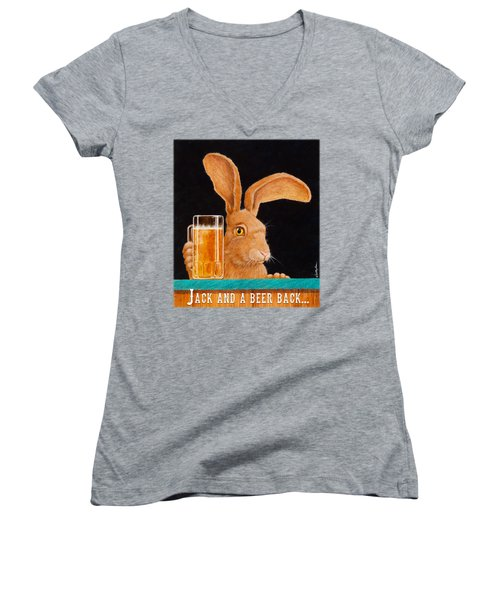 Women's V-Neck T-Shirt (Junior Cut) featuring the painting Jack And A Beer Back... by Will Bullas
