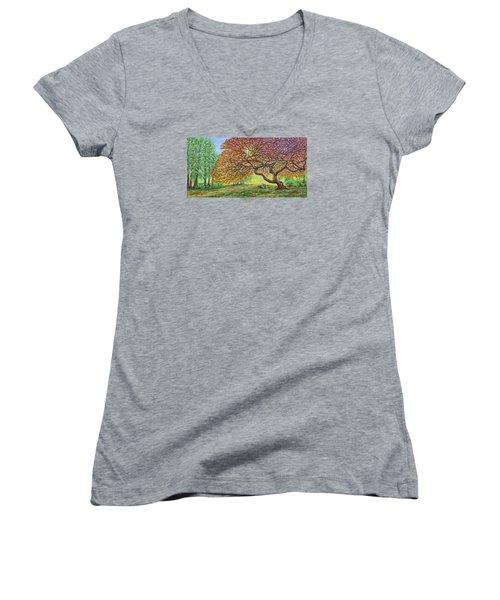 Japanese Maple Women's V-Neck T-Shirt (Junior Cut) by Jane Girardot