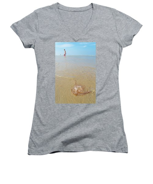 Women's V-Neck T-Shirt (Junior Cut) featuring the photograph Jellyfish On Beach by Hans Engbers