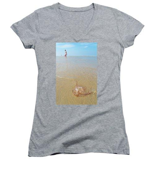 Jellyfish On Beach Women's V-Neck T-Shirt