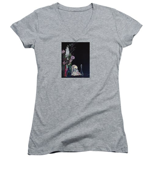 Women's V-Neck T-Shirt (Junior Cut) featuring the painting Jenibelle by Jane Autry