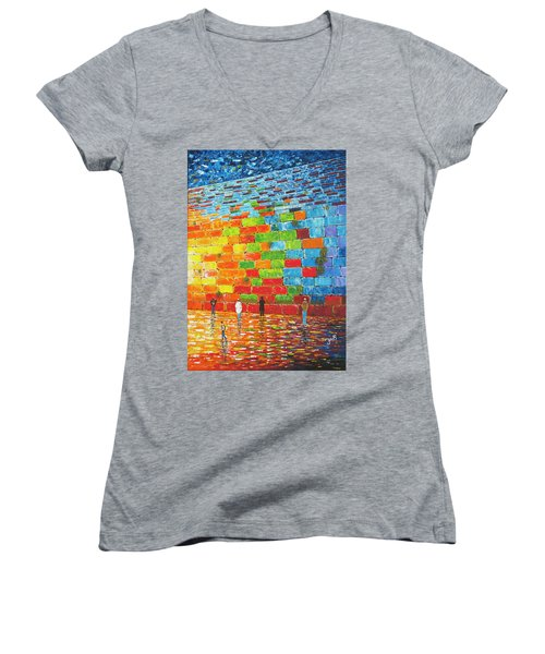 Women's V-Neck featuring the painting Jerusalem Wailing Wall Original Acrylic Palette Knife Painting by Georgeta Blanaru