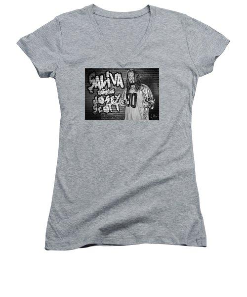 Women's V-Neck T-Shirt (Junior Cut) featuring the photograph Josey Scott Saliva by Don Olea