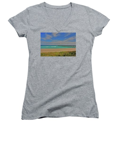Women's V-Neck T-Shirt (Junior Cut) featuring the photograph 1- Juno Beach Pier by Joseph Keane
