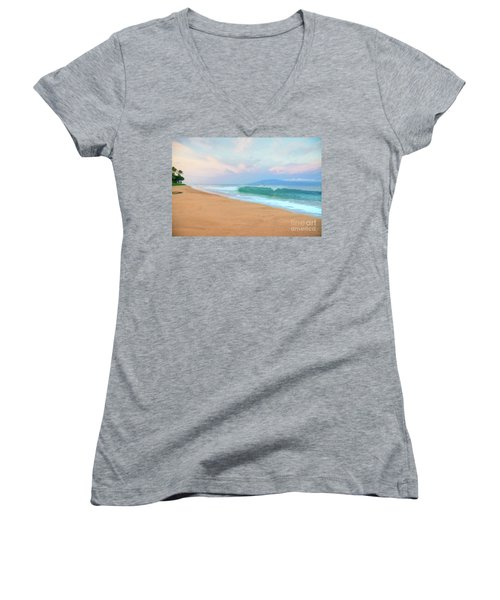 Women's V-Neck T-Shirt (Junior Cut) featuring the photograph Ka'anapali Waves by Kelly Wade