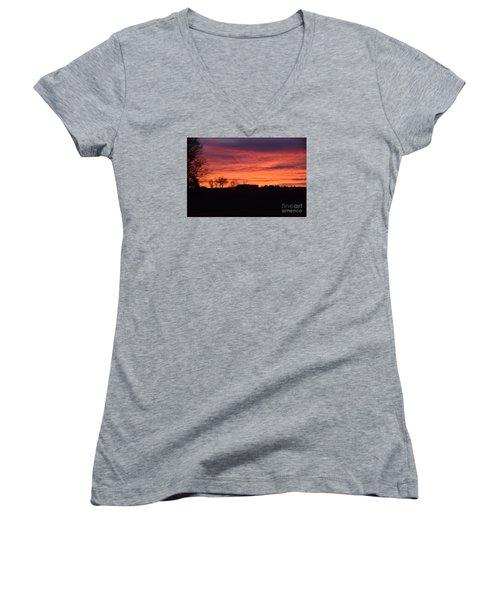 Kansas Sunset Women's V-Neck T-Shirt (Junior Cut) by Mark McReynolds