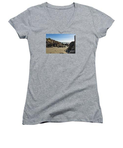 Kennack Sands Women's V-Neck T-Shirt (Junior Cut) by Brian Roscorla