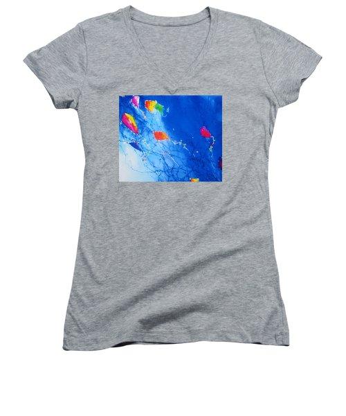 Kite Sky Women's V-Neck T-Shirt (Junior Cut) by Anne Duke