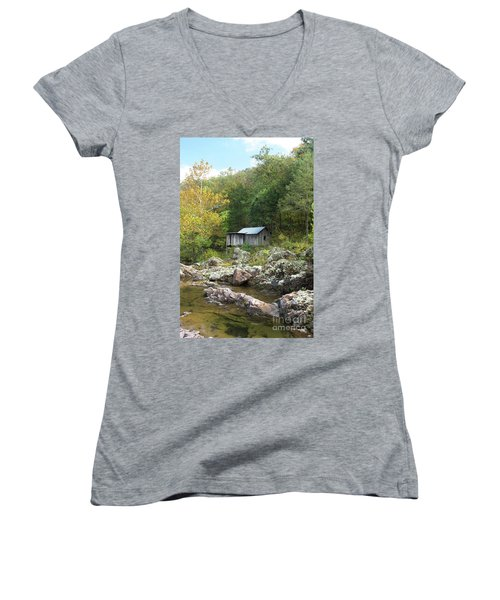 Klepzig Mill Women's V-Neck T-Shirt (Junior Cut) by Julie Clements