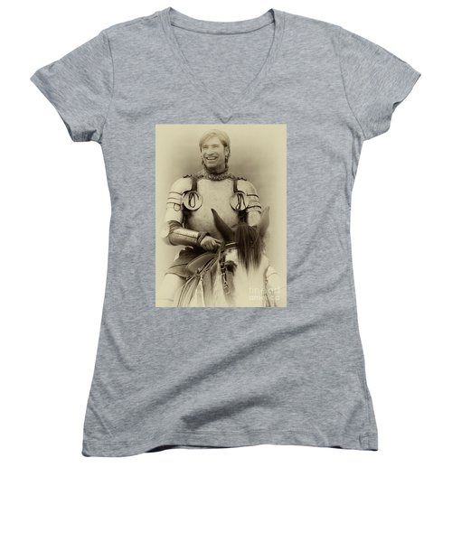 Women's V-Neck T-Shirt (Junior Cut) featuring the photograph Knights Of Old 12 by Bob Christopher