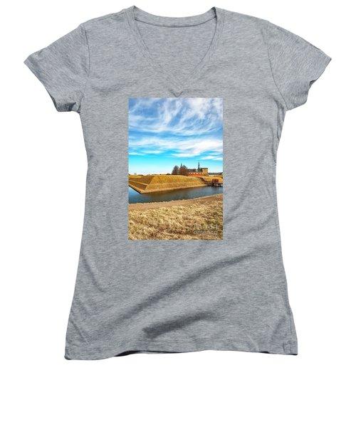 Women's V-Neck T-Shirt (Junior Cut) featuring the photograph Kronborg Castle In Helsingor by Antony McAulay